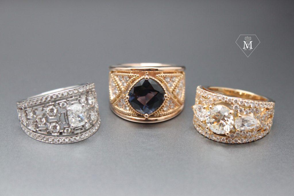 Bagues de fiançailles by l'Atelier MÄHLER - Saphir, diamants, or blanc, or jaune, spinelle