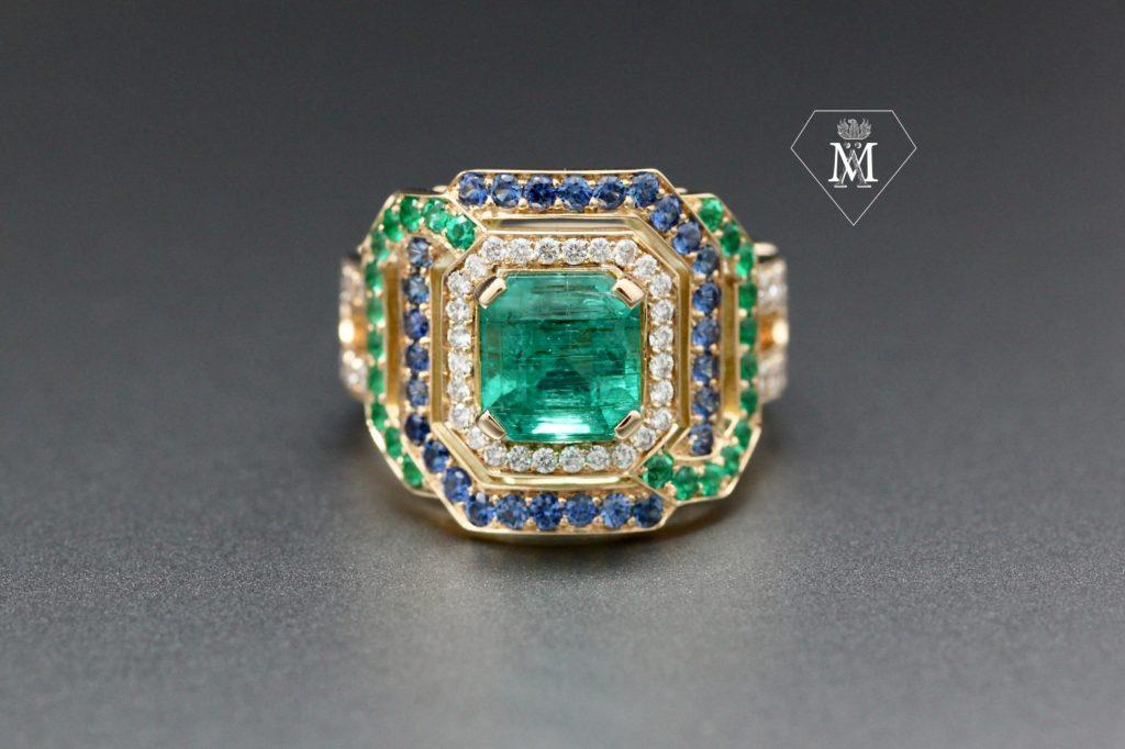 Bague de fiançailles - Emeraudes & diamants et saphirs