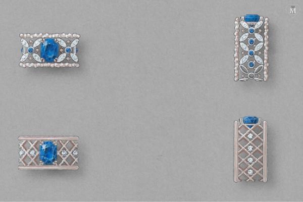 Gouaché représentant bague de naissance - bandeau : saphirs et diamants - réalisation sur-mesure